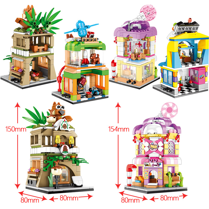 SEMBO 601051-54 Mini street scene: 4 pine cone shops, candy houses, toy shops, game machines