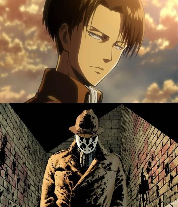 Kết quả hình ảnh cho Levi's personality and design were modeled after Rorschach from Watchmen series.